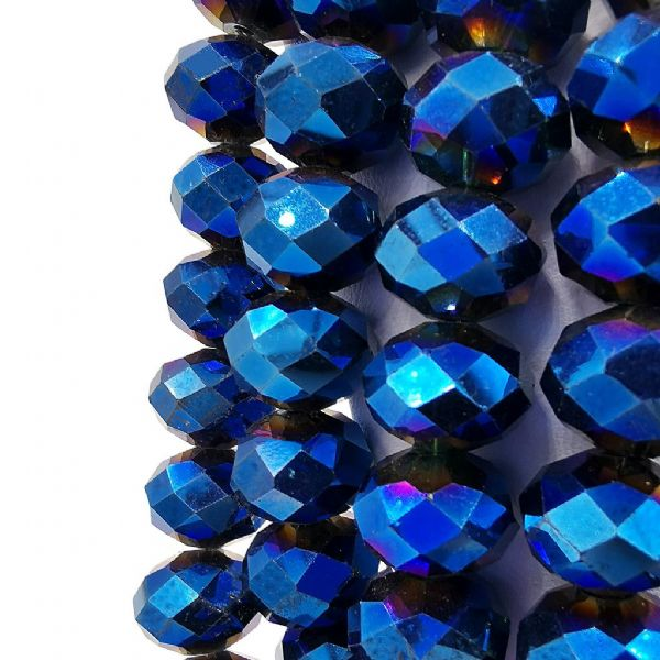 48 pcs x 16mm Glass Faceted Rondelle Metallic Blue 069